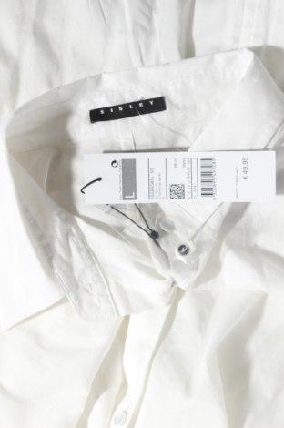 Дамска риза Sisley, Размер L, Цвят Бял, 62% памук, 33% полиамид, 5% еластан, Цена 65,25лв.