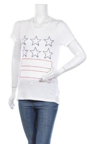 Дамска тениска Tommy Hilfiger, Размер S, Цвят Бял, 80% вискоза, 20% лен, Цена 79,00лв.