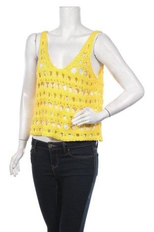 Дамски пуловер United Colors Of Benetton, Размер XS, Цвят Жълт, 50% памук, 50% акрил, Цена 17,70лв.