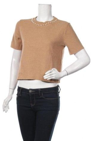 Дамски пуловер Zara Trafaluc, Размер L, Цвят Кафяв, 53% памук, 47% полиестер, Цена 8,21лв.