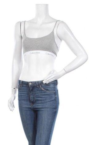 Дамски спортен топ Calvin Klein, Размер M, Цвят Сив, 92% памук, 8% еластан, Цена 30,24лв.