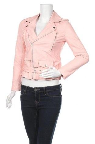 Дамско кожено яке, Размер S, Цвят Розов, Еко кожа, Цена 47,25лв.