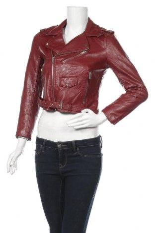 Дамско кожено яке Zara, Размер S, Цвят Червен, Еко кожа, Цена 54,60лв.