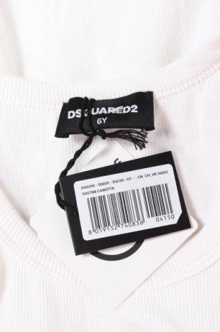 Μπλουζάκι αμάνικο παιδικό Dsquared2, Μέγεθος 5-6y/ 116-122 εκ., Χρώμα Λευκό, 94% βαμβάκι, 6% ελαστάνη, Τιμή 27,05€