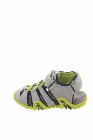 Παιδικά σανδάλια Geox, Μέγεθος 20, Χρώμα Γκρί, Δερματίνη, κλωστοϋφαντουργικά προϊόντα, Τιμή 31,76€