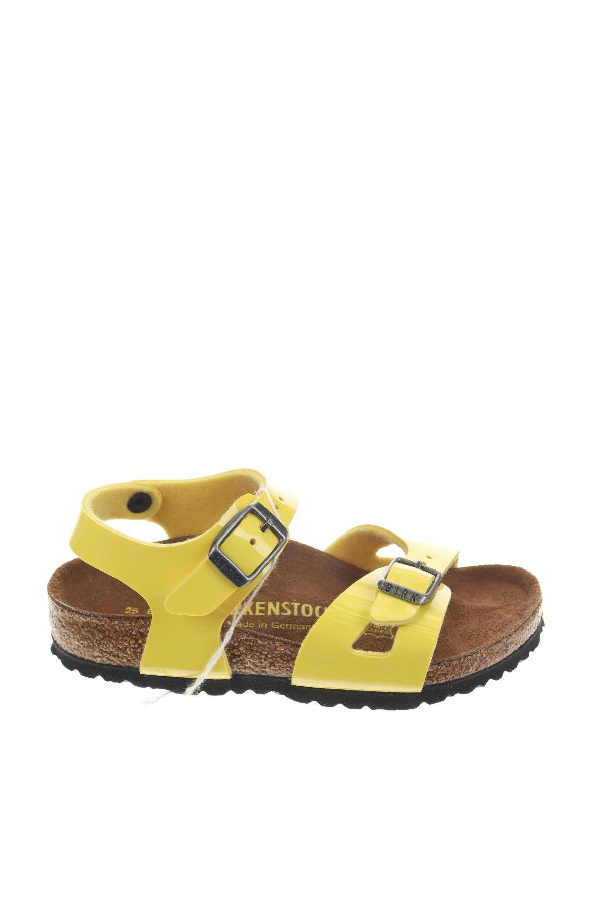Детски сандали Birkenstock, Размер 25, Цвят Жълт, Еко кожа, Цена 66,75лв.
