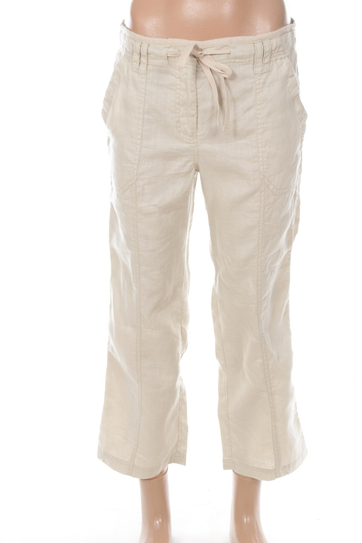 Дамски панталон Essentiel, Размер S, Цвят Бежов, 100% лен, Цена 38,00лв.