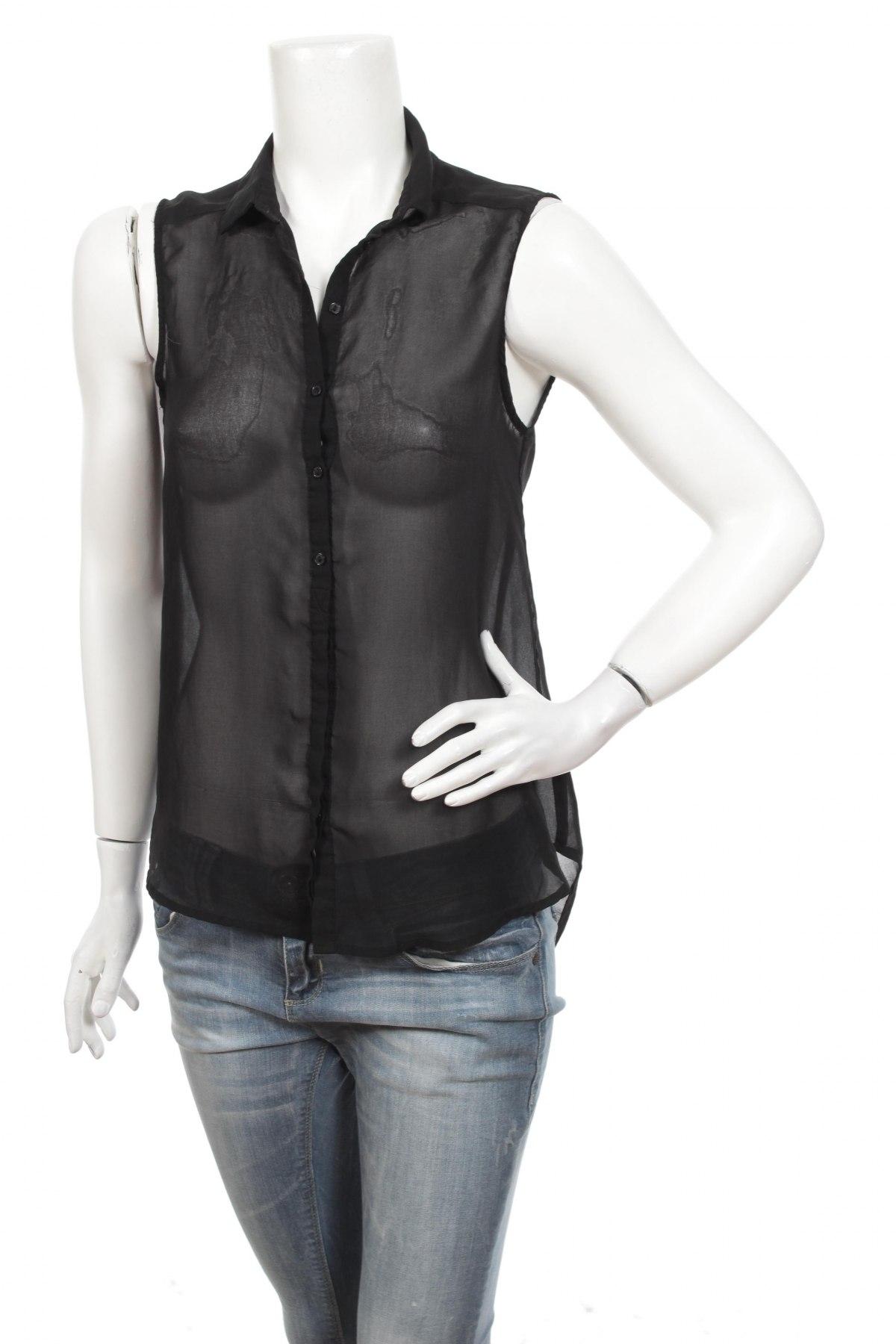 Γυναικείο πουκάμισο H&M, Μέγεθος S, Χρώμα Μαύρο, 100% πολυεστέρας, Τιμή 9,28€