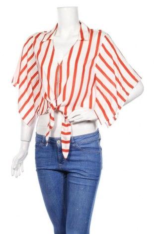 Дамска риза Bershka, Размер M, Цвят Оранжев, 100% вискоза, Цена 22,00лв.