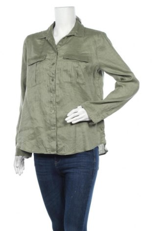 Дамска риза H&M, Размер M, Цвят Зелен, Лен, Цена 18,90лв.