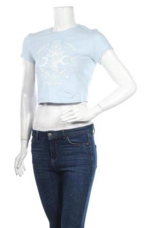 Дамска тениска Bershka, Размер M, Цвят Син, 98% памук, 2% еластан, Цена 16,80лв.