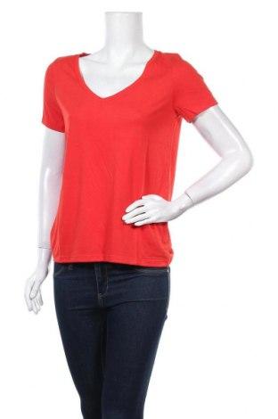 Дамска тениска Pieces, Размер S, Цвят Червен, 65% полиестер, 35% вискоза, Цена 19,20лв.
