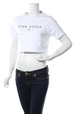 Дамска тениска Pink Soda, Размер L, Цвят Бял, 92% памук, 8% еластан, Цена 24,00лв.