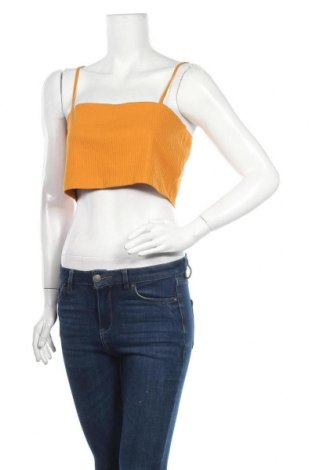 Tricou de damă Monki, Mărime XL, Culoare Galben, 95% bumbac, 5% elastan, Preț 13,00 Lei