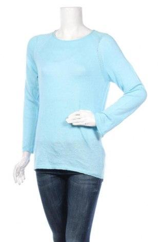 Дамски пуловер, Размер M, Цвят Син, 68% лен, 32% памук, Цена 5,78лв.