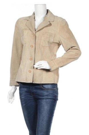 Дамско кожено сако, Размер M, Цвят Бежов, Естествен велур, Цена 21,53лв.