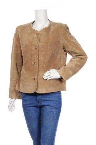 Дамско кожено сако Aleksander of Norway, Размер M, Цвят Бежов, Естествен велур, Цена 10,90лв.