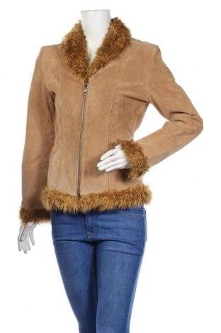 Дамско кожено яке --, Размер XS, Цвят Бежов, Естествен велур, Цена 23,36лв.