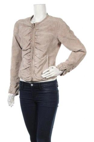 Дамско кожено яке, Размер M, Цвят Бежов, Естествен велур, Цена 18,64лв.