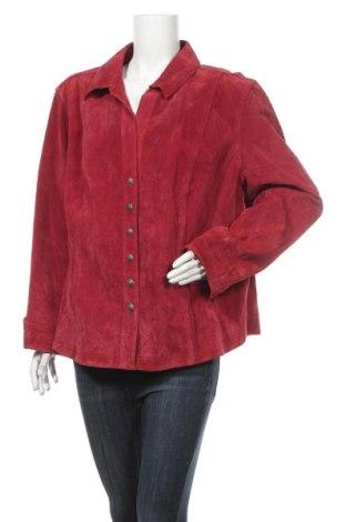 Дамско кожено яке Dressbarn, Размер XXL, Цвят Червен, Естествен велур, Цена 57,33лв.