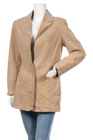 Дамско кожено яке Joy, Размер M, Цвят Бежов, Естествен велур, Цена 15,49лв.
