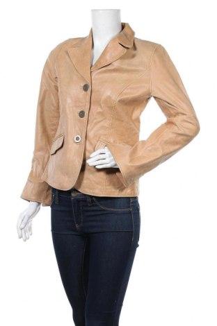 Дамско кожено яке Visual, Размер S, Цвят Бежов, Естествена кожа, Цена 22,58лв.