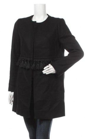 Дамско палто Zara, Размер L, Цвят Черен, 75% вълна, 25% полиамид, Цена 24,15лв.