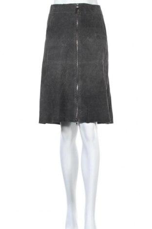 Кожена пола Isaac Mizrahi, Размер XL, Цвят Сив, Естествена кожа, Цена 24,15лв.
