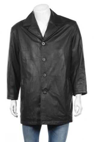 Мъжко кожено яке Angelo Litrico, Размер XL, Цвят Черен, Естествена кожа, Цена 15,70лв.