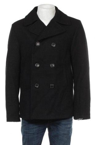 Мъжко палто H&M L.O.G.G., Размер XL, Цвят Черен, 80% вълна, 20% полиамид, Цена 44,52лв.