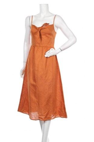 Рокля Warehouse, Размер S, Цвят Оранжев, 52% лен, 48% памук, Цена 51,35лв.