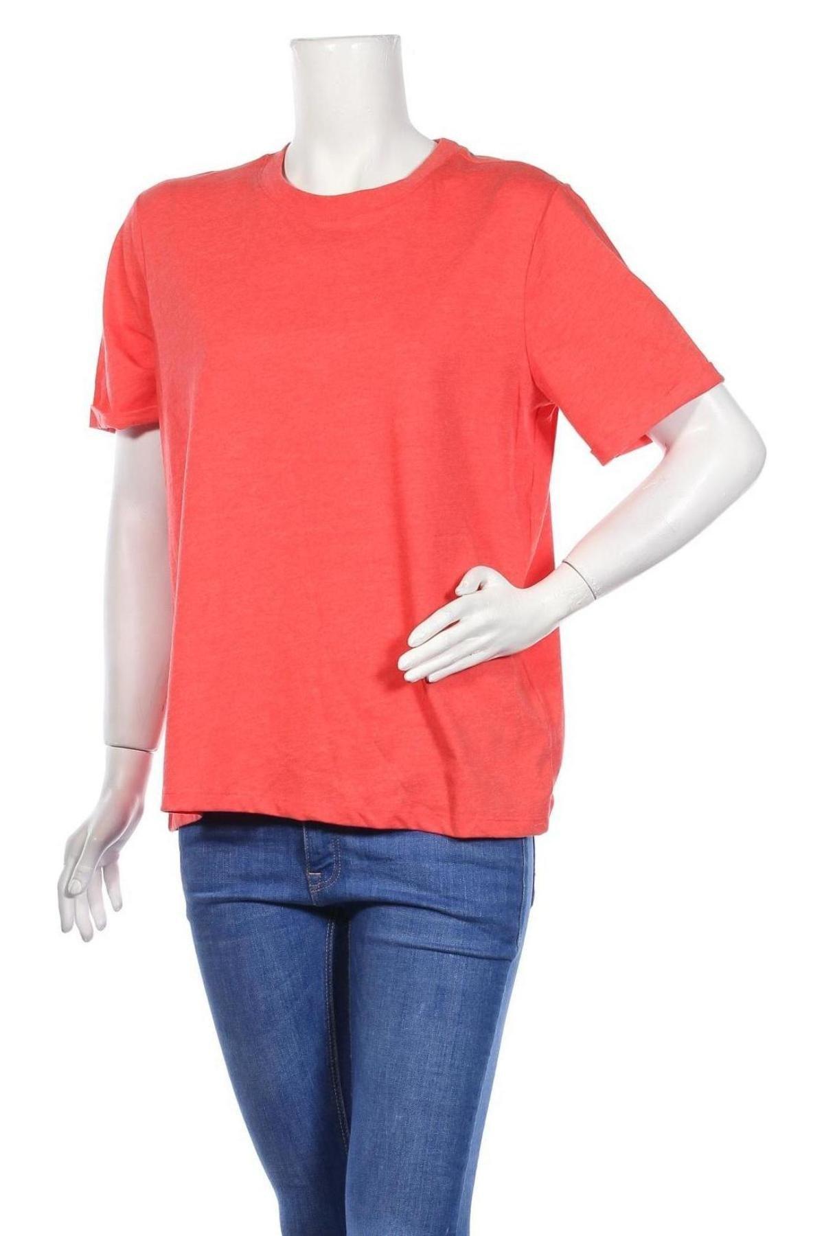 Дамска тениска Pieces, Размер XL, Цвят Оранжев, 50% памук, 50% полиестер, Цена 15,95лв.