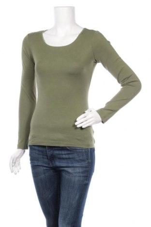 Дамска блуза H&M L.O.G.G., Размер S, Цвят Зелен, 97% памук, 3% еластан, Цена 14,28лв.