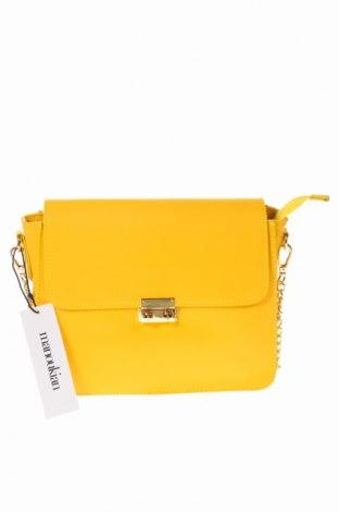 Γυναικεία τσάντα Manoukian, Χρώμα Κίτρινο, Γνήσιο δέρμα, Τιμή 93,85€