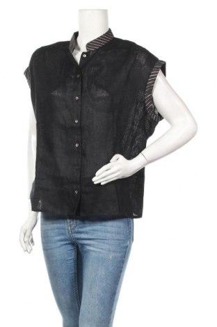 Дамска риза Nitya, Размер L, Цвят Черен, Лен, Цена 57,85лв.