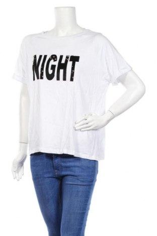 Дамска тениска Mango, Размер L, Цвят Бял, 50% памук, 50% модал, Цена 21,76лв.