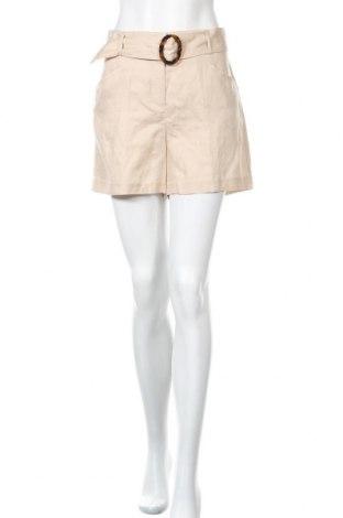 Γυναικείο κοντό παντελόνι Naf Naf, Μέγεθος M, Χρώμα  Μπέζ, 82% lyocell, 18% λινό, Τιμή 8,42€