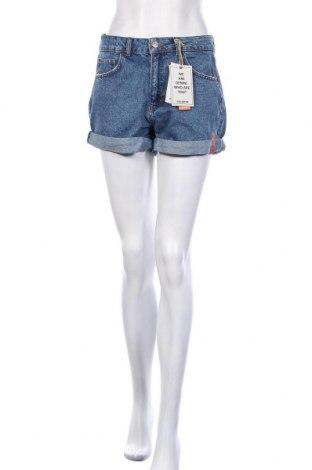 Дамски къс панталон Pull&Bear, Размер S, Цвят Син, Памук, Цена 19,00лв.