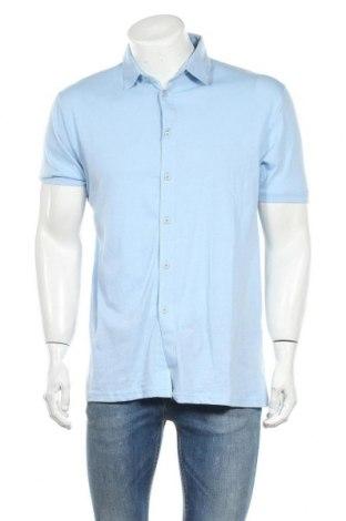 Ανδρικό πουκάμισο Boohoo, Μέγεθος L, Χρώμα Μπλέ, 94% βαμβάκι, 6% ελαστάνη, Τιμή 7,22€