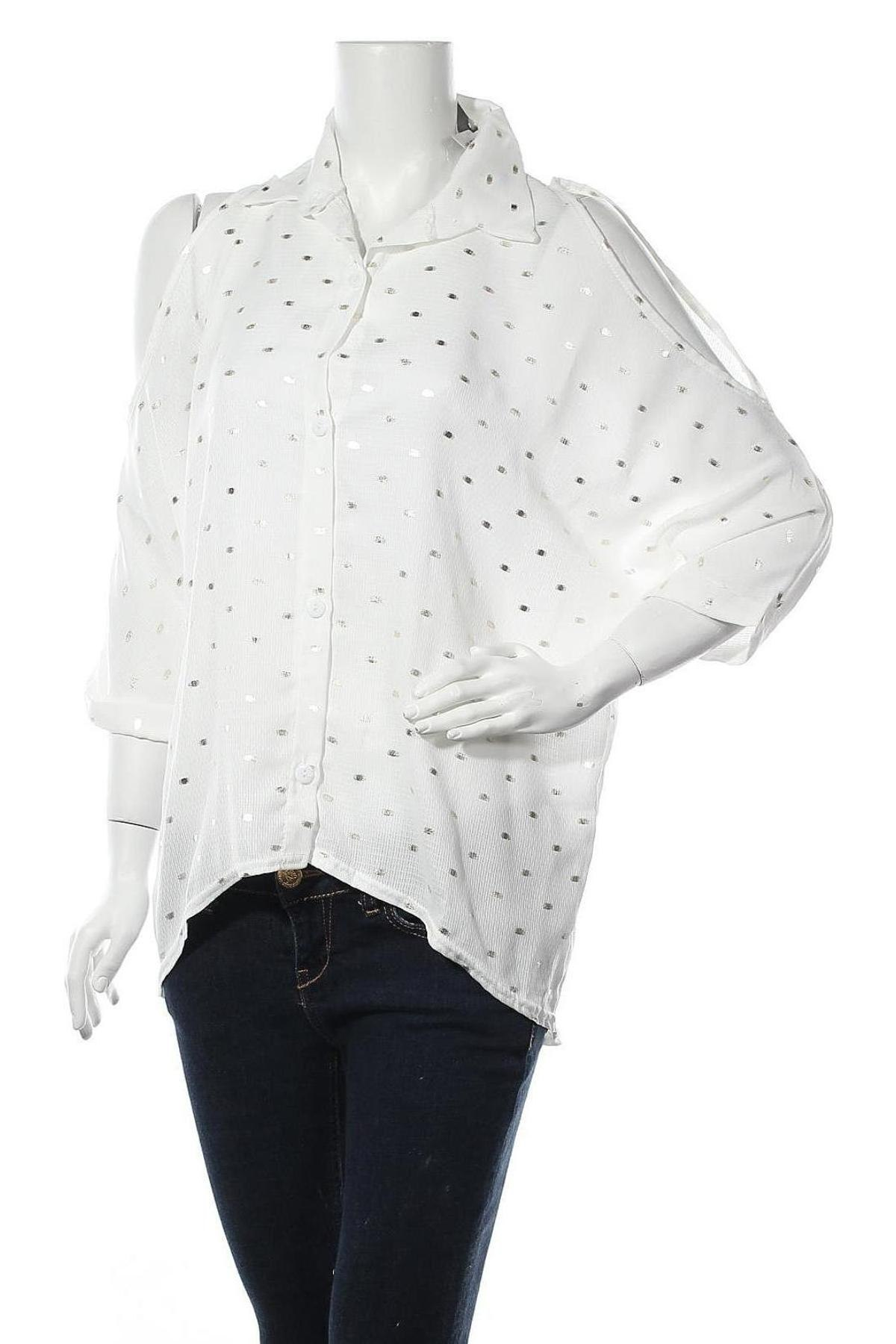 Дамска риза Mademoiselle A Paris, Размер M, Цвят Бял, 92% вискоза, 8% еластан, Цена 44,25лв.