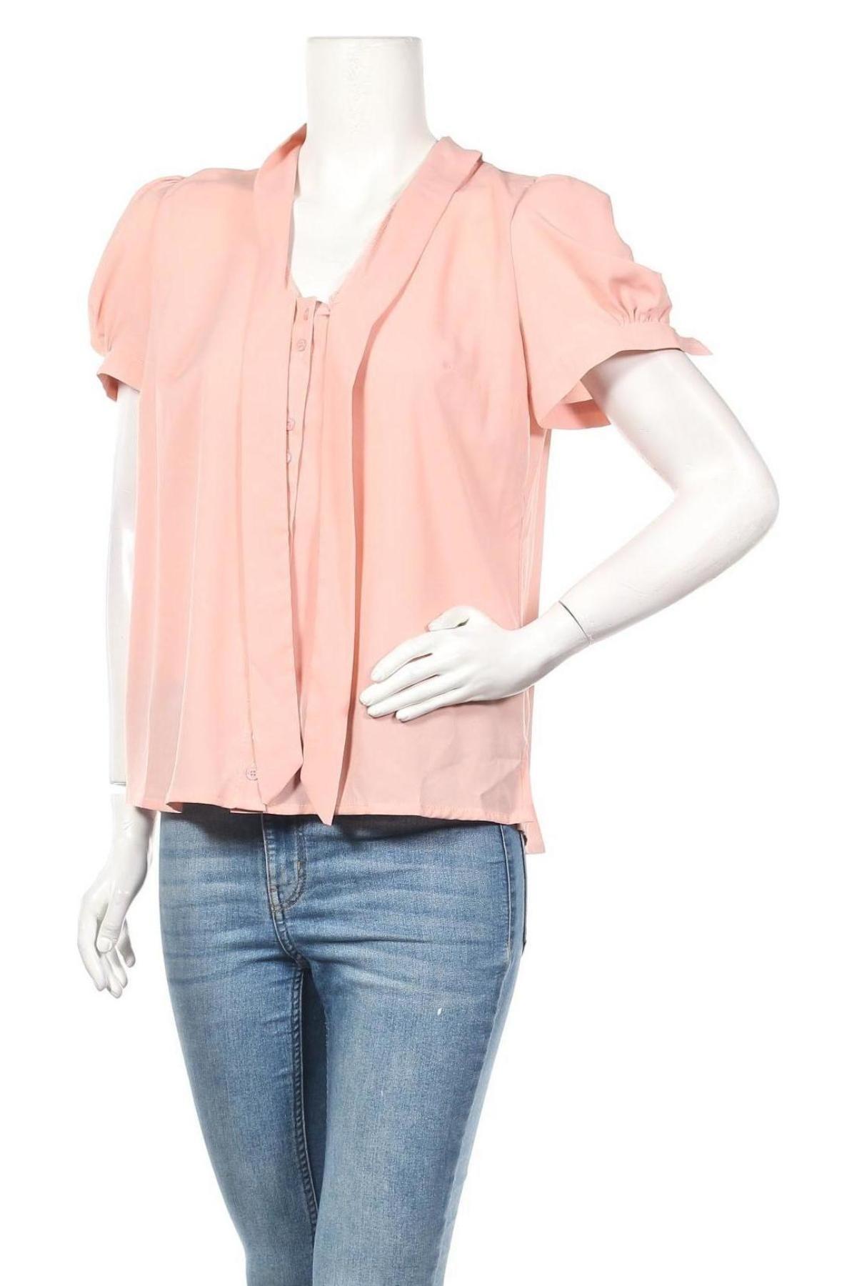 Дамска риза Nife, Размер L, Цвят Розов, 98% полиестер, 2% еластан, Цена 31,85лв.