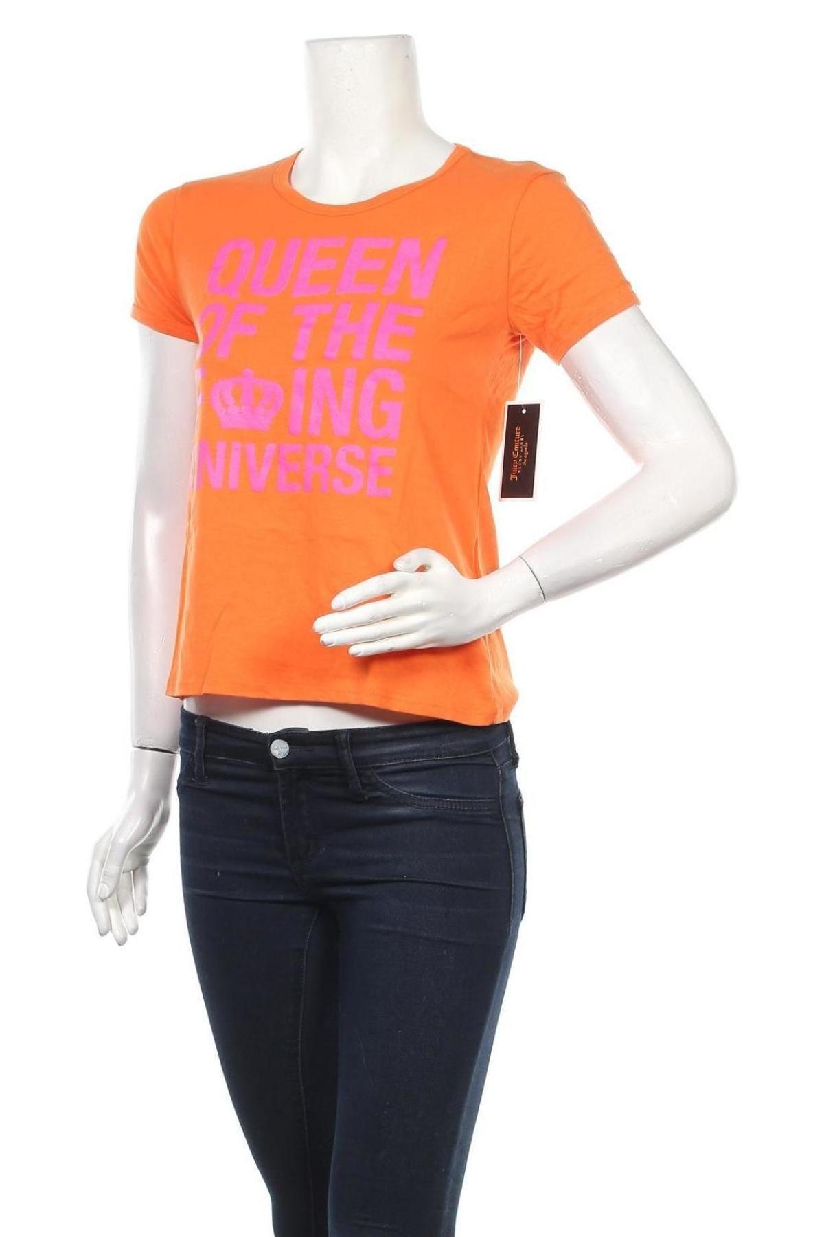 Дамска тениска Juicy Couture, Размер XS, Цвят Оранжев, Памук, Цена 37,40лв.