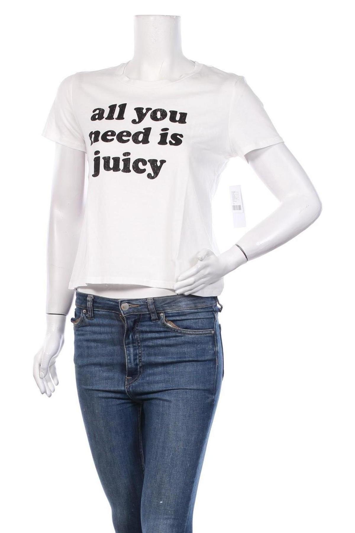 Дамска тениска Juicy Couture, Размер M, Цвят Бял, 100% памук, Цена 35,20лв.