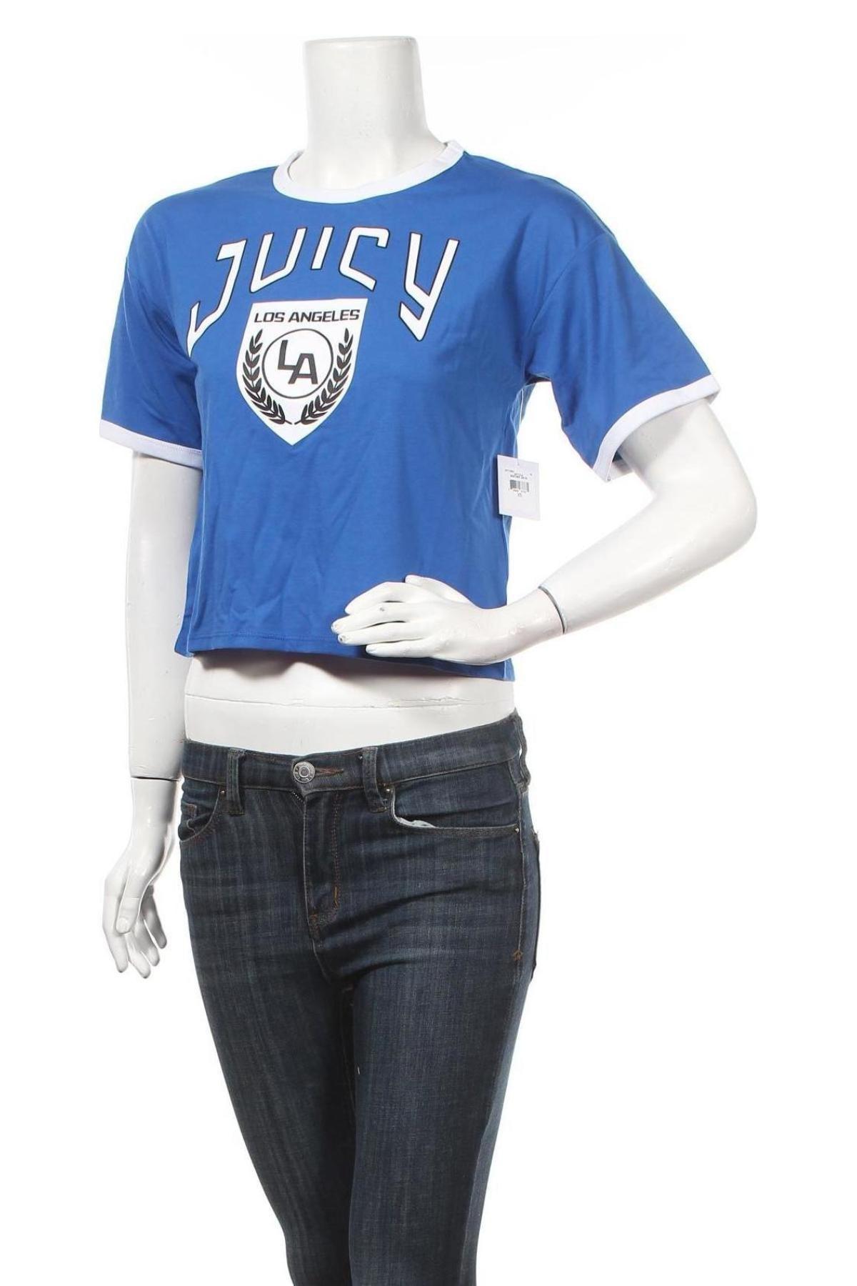 Дамска тениска Juicy Couture, Размер XS, Цвят Син, 60% памук, 40% полиестер, Цена 38,28лв.
