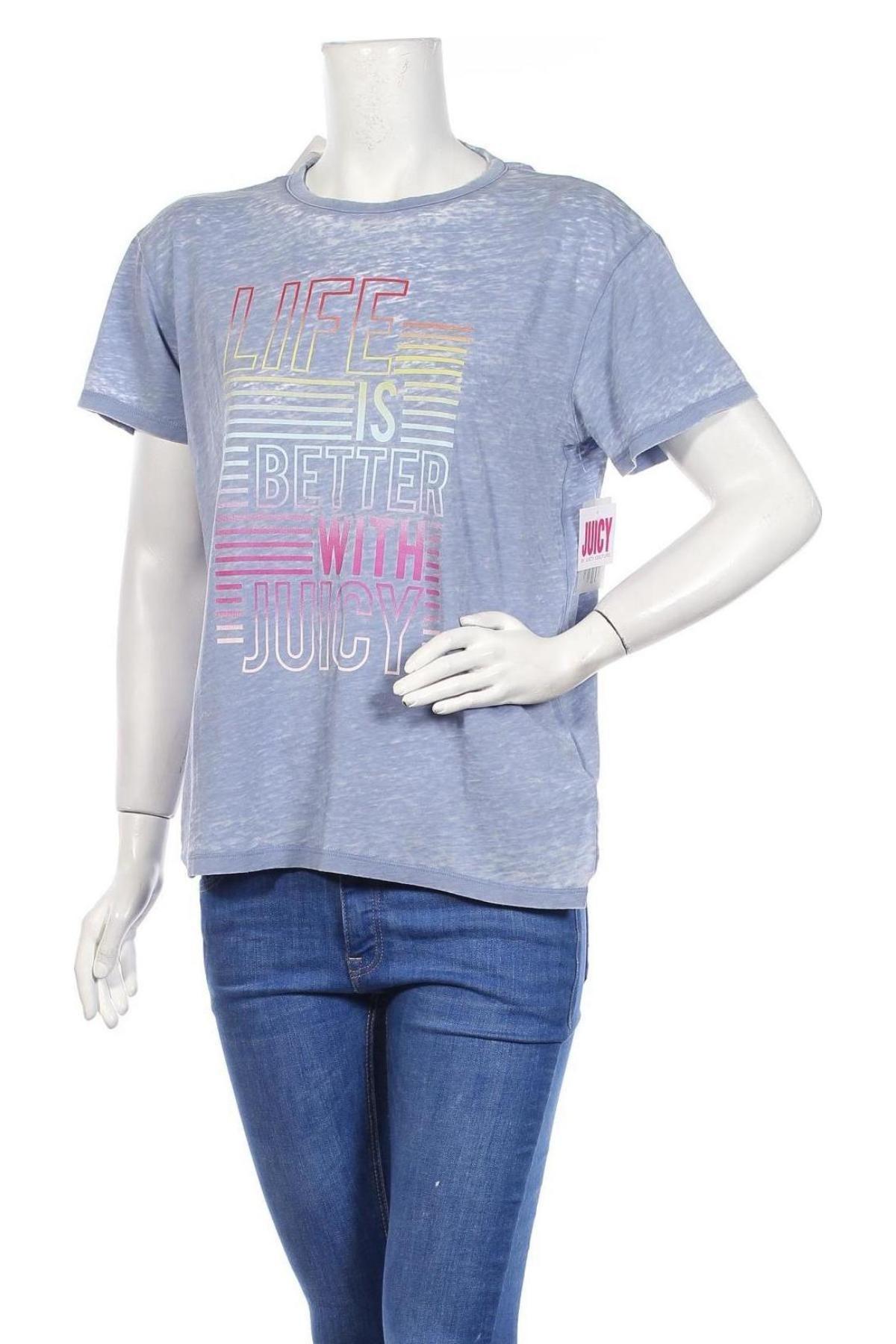 Дамска тениска Juicy Couture, Размер S, Цвят Син, 53% памук, 47% полиестер, Цена 42,90лв.