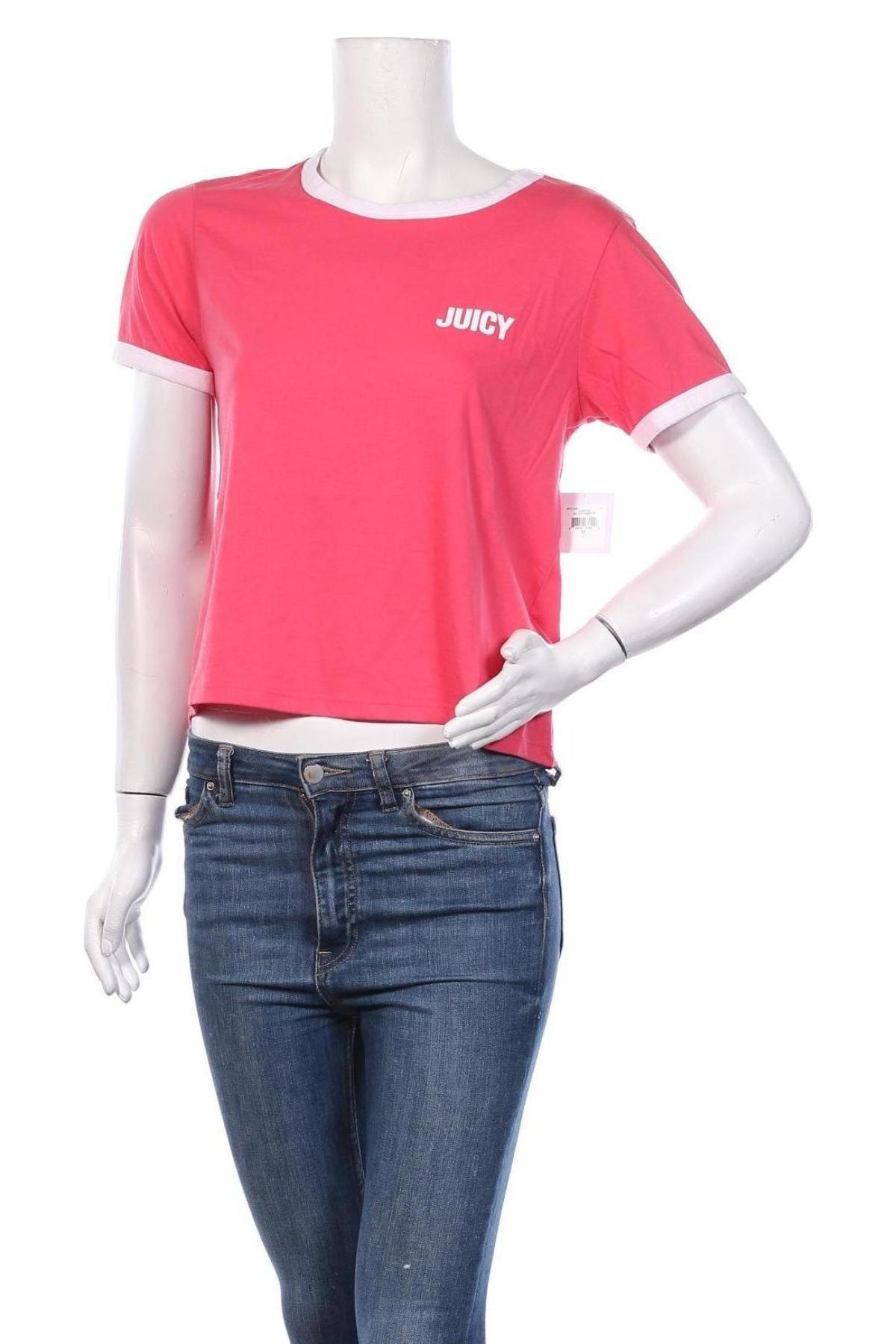 Дамска тениска Juicy Couture, Размер M, Цвят Розов, 60% памук, 40% полиестер, Цена 34,80лв.
