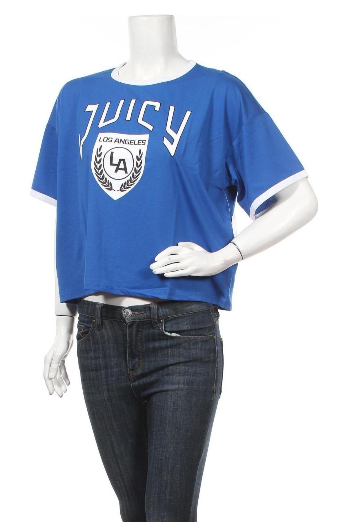 Дамска тениска Juicy Couture, Размер L, Цвят Син, 60% памук, 40% полиестер, Цена 13,20лв.