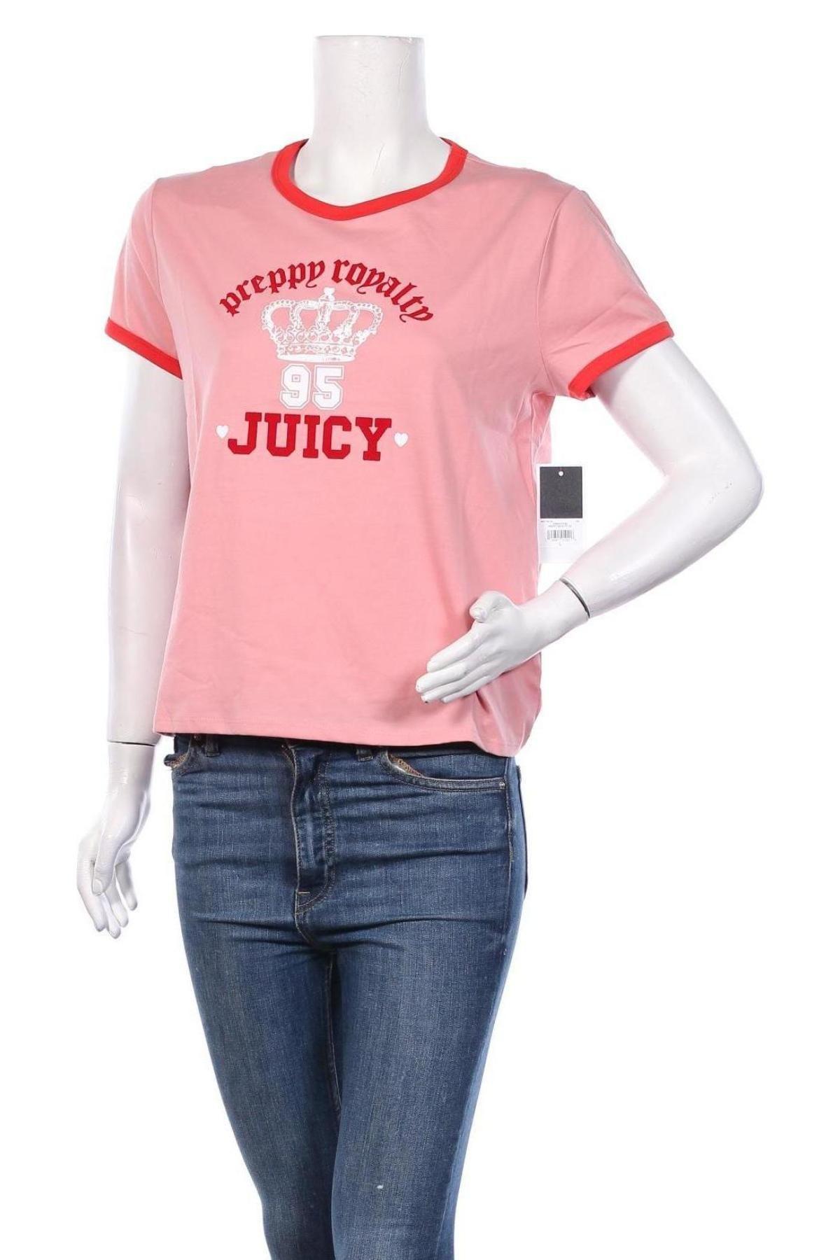 Дамска тениска Juicy Couture, Размер L, Цвят Розов, 58% памук, 42% полиестер, Цена 37,12лв.