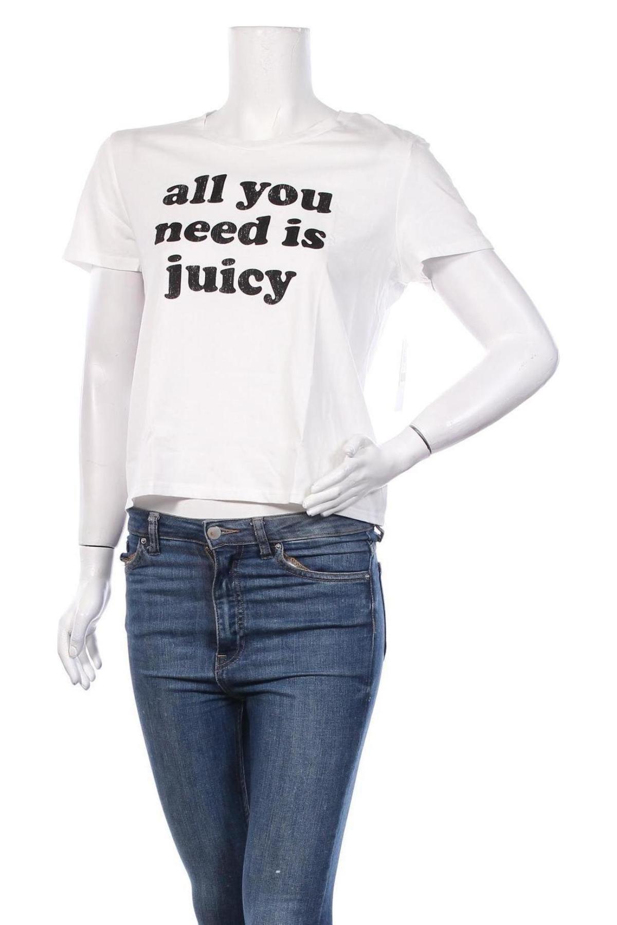 Дамска тениска Juicy Couture, Размер L, Цвят Бял, 100% памук, Цена 35,20лв.