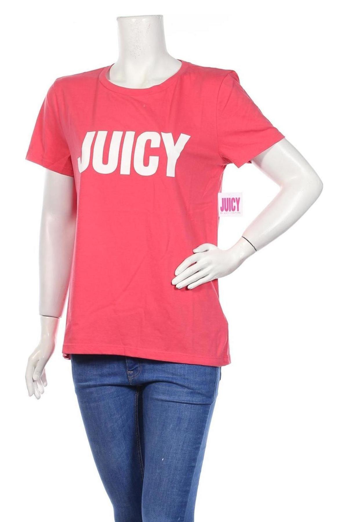 Дамска тениска Juicy Couture, Размер L, Цвят Розов, 60% памук, 40% полиестер, Цена 35,20лв.